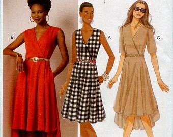 Misses Surplice Dress Pattern Butterick B6204 Asymmetical Hem Flared Skirt Size 6 to 14 UNCUT