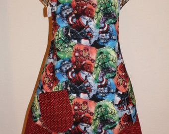 Women's Large Marvel, Thor, Hulk, Iron Man, Captain America Red Apron