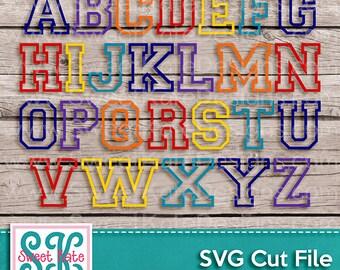 Varsity Outline Letters SVG JPG PNG Sports {Scrapbook Die Cut Heat Transfer Vinyl Cut} Cricut Silhouette Instant Download Sweet Kate Designs