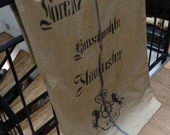 "2 ""Art Mill""  XL German linen grain sacks-1935'/1940'. Grinding/water wheel, animals, crown,city of Almünster. Not reproductions"