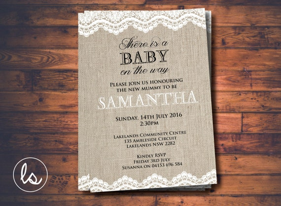 diy printable burlap and lace baby shower vintage baby shower