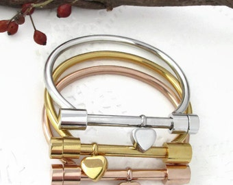 Shackle Cremation Urn Bracelet | Solid Stainless Steel | Silver | Gold | Rose Gold | Cremate | Hand Stamped Memorial Jewelry | Engraved