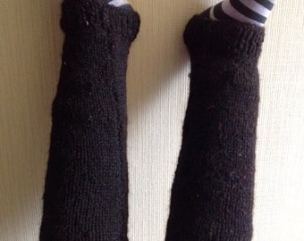Black Handknit Alpaca Leggings -