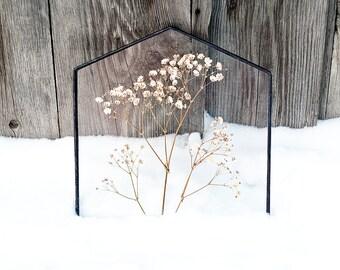 Stained glass panel with pressed flowers gypsophila botanical home decor herbarium white flowers wedding decor