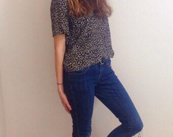 90s leopard print shirt, retro cheetah print shirt, hipster cheetah print shirt, hipster leopard print shirt, leopard print crop top
