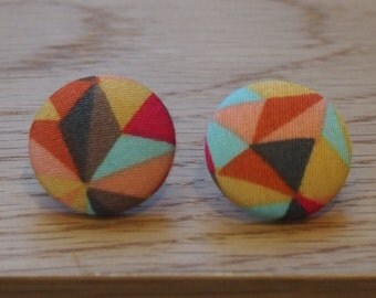 Handmade geo fabric button stud earrings. Hypoallergenic surgical steel posts.