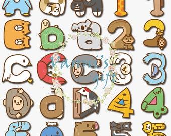 100 Animal Letters Number Alphabet  Vintage Digital Download Scrapbooking Clip Art c94