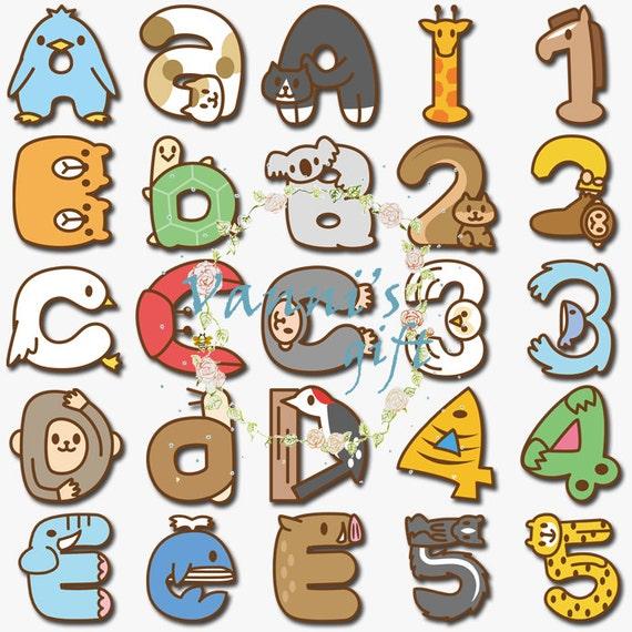100 Animal Letters Number Alphabet Vintage Digital Download