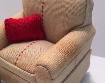 Miniature Dollhouse Upholstered Chair - French Grain Sack Inspired on Tea Stained Linen with Hand Knitted Throw Pillow