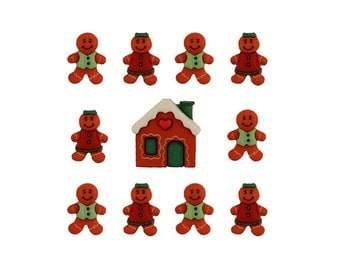 Gingerbread Cookie Buttons, Cute Little Gingerbread Man Buttons, Red and Green Christmas Buttons, Holiday House, Gingerbread Cottage Buttons