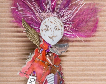 ART Doll Pin, Brooch, Fushia Pink, Porcelain DREAM Whimsical Ready To Ship, OOAK