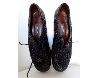 1980's  BALLY French woven Leather Mocassins  Oxfords Shoes / size US 6.5