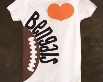 Personalized Cincinnati Bengals Heart OR Bow Tie Team Football Bodysuit