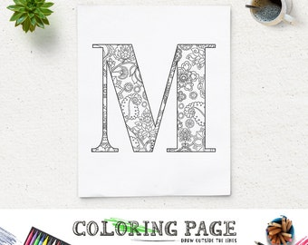sale coloring page floral printable alphabet with texture instant download digital art printable coloring pages adult - Letter Coloring Pages For Adults