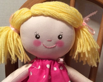 "Handmade Girl Cloth Doll 16"" Roxanne Plush Softie Rag Doll With Pink Pillow Case Dress Blond yarn Hair"