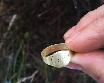 Men's Scorpio constellation signet ring in bronze - wide band signet ring with zodiac detail