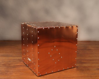 Copper Deco Crate   Industrial End Table Metal Urban Modern Designer Style  Aviator Inspired Furniture Aviation