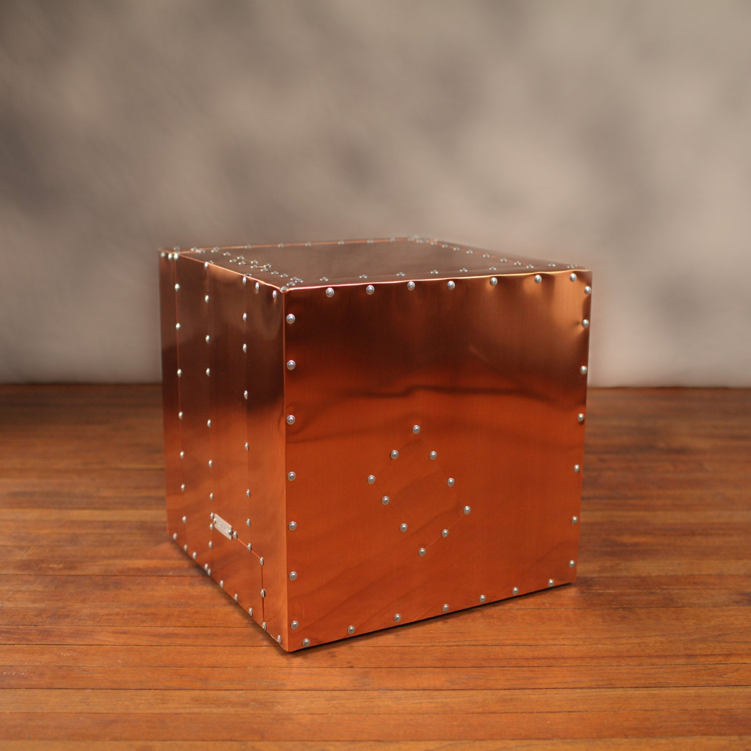 Copper deco crate industrial end table metal urban modern for Table y copper