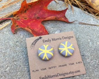 Grey and Yellow Button Earrings