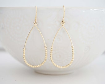 Dainty Gold Bead Teardrop Earrings