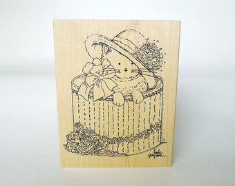 Cat Stamp, Cat in the Hat, Fashionable Kitten, Fashionable Cat, Hat Box, Rubber Stamp, Free Shipping, Large Stamp, Animal, Free Shipping