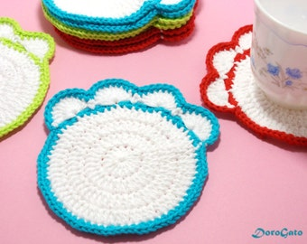 Crochet Paw Coasters, Doily Coasters, Drink Coasters, Handmade Coasters, Cottage Style Decor, Rustic Decor, crochet motif