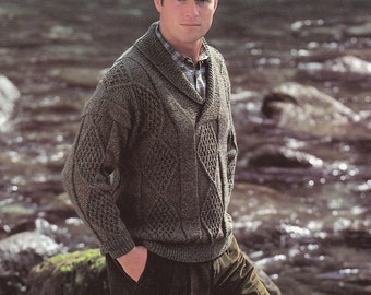 Vintage knitting pattern men's cable sweater with roll collar pdf INSTANT download pattern only pdf shawl collar