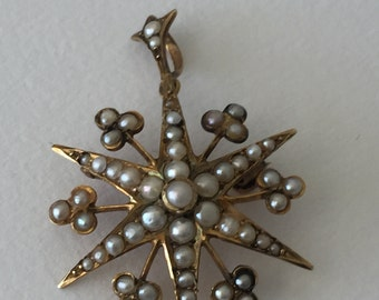 A 9ct Gold  Seed Pearl Starburst Pendant Brooch