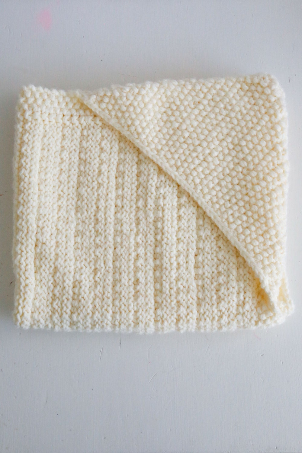 Newborn Knitting Patterns Free For Babies : Hand-knit Hooded Baby Blanket Ivory White Soft yarn