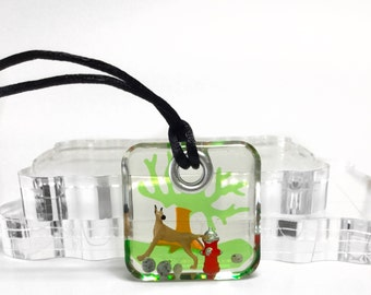 Humorous doggy on fire post oval resin pendant necklace, handmade diorama jewelry,