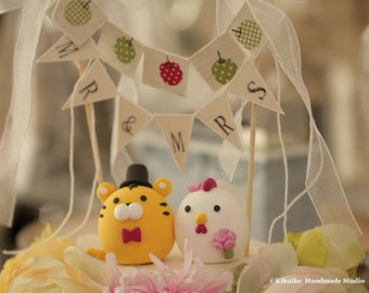 Tiger and Chicken wedding cake topper---Chinese Zodiac wedding cake topper