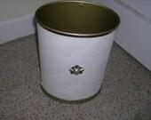 Vintage Trash Can Midcentury Embossed off white neutral mid century ecru cream ivory metal waste basket bronze star fleur de lis