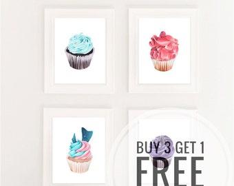 Buy 3 Get 1 Free / Art Print / Cupcake Art / Cupcakes Art / Bakery Art / Macarons Art Print / Pastry Art / French Patiserrie Art /Baker Gift