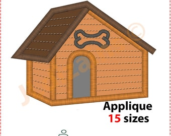 Dog House Applique Design. Dog house embroidery design. Kennel applique design. Dog embroidery. Dog applique. Machine embroidery design.