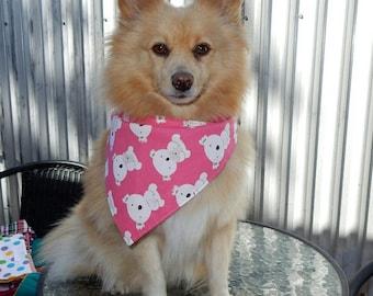 Dog Bandana - large reversible pink koala doggy bandana