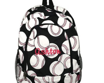 Monogrammed Baseball Print School Size Backpack Bookbag- Personalized with Embroidered Name or Initials - Black White and Red