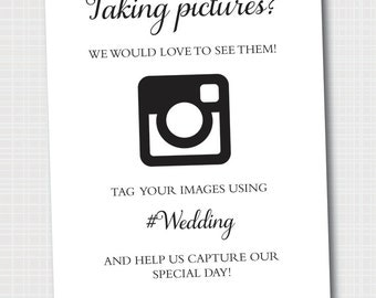 Instagram Wedding Sign | Hashtag Picture Sign | Wedding Sign | Digital File 8x10