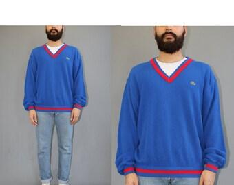 Vintage Izod Lacoste Vneck Sweater - Alligator Sweater - 70s Lacoste Sweater - Lacoste USA - 70s Sweater - XL