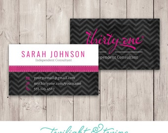 Print business card etsy thirty one chevron noir business card custom pdf template thirtyone thirty one reheart Images