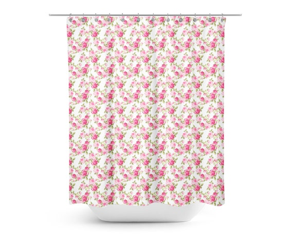 Shabby Chic Roses Shower Curtain Floral Kids Shower Curtain Shabby Chic Shower Curtain