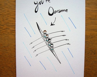 Rowers Greetings Card - You're Oarsome - Rowing Card - Stickman Birthday Card - Sports Card - Rower Birthday - Boat Card - British Cards