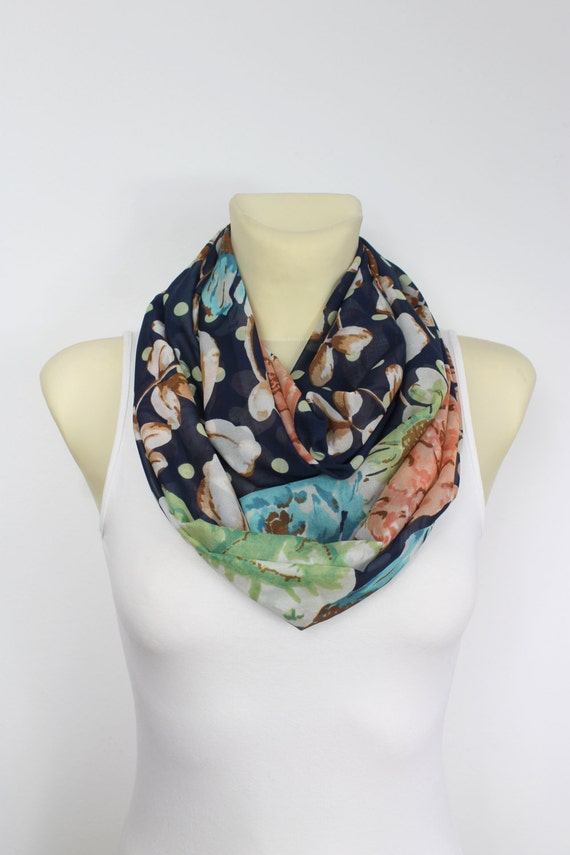 Silk Infinity Scarf Floral Silk Scarf Blue Silk Scarf Mother's Day from Daughter Son Summer Outdoors Summer Party Womens Summer Accessories