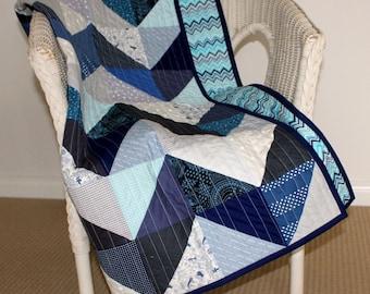 Blue Chevron Modern Cotton Baby Quilt
