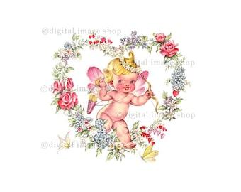 Vintage Cupid Image Digital Clip Art Heart & Cupid Valentine Instant Digital Download Printable VC04