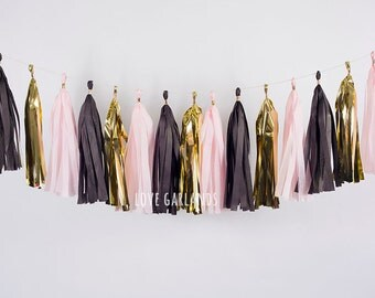 Black Pink Gold Tassel Garland, Black Pink Tissue Garland, Black Pink Gold Banner, New Years Party Decor, New Years Tassel Garland
