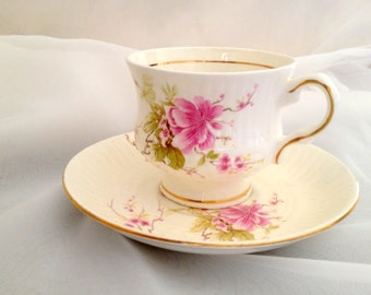 vintage Tea Cup and Saucer with Pink Apple Tree Blossoms -bone china made in India by Pottery Crafts