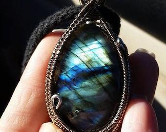 Flashy Luminous Labradorite Healing Crystal Copper Wirewrap Talisman