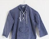 Vintage Kinder Fischerhemd Hemdbluse Gr. 134/140 maritim blau Matrose Ostsee Baumwolle