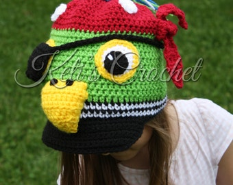 Parrot Hat,Crochet Pirate Hat,Pirate Hat,Pirate Parrot Hat,Crochet Hat,Kids Pirate Hat,Pirate Parrot Crochet Hat,Pirate,Pirate Parrot