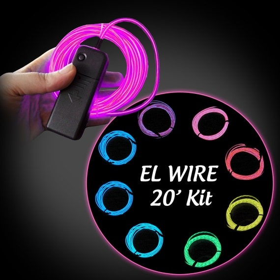 20-foot (6m) EL Wire Kit - Electroluminescent Wire - Glow Wire - AA Inverter Included - Great for Burning Man!